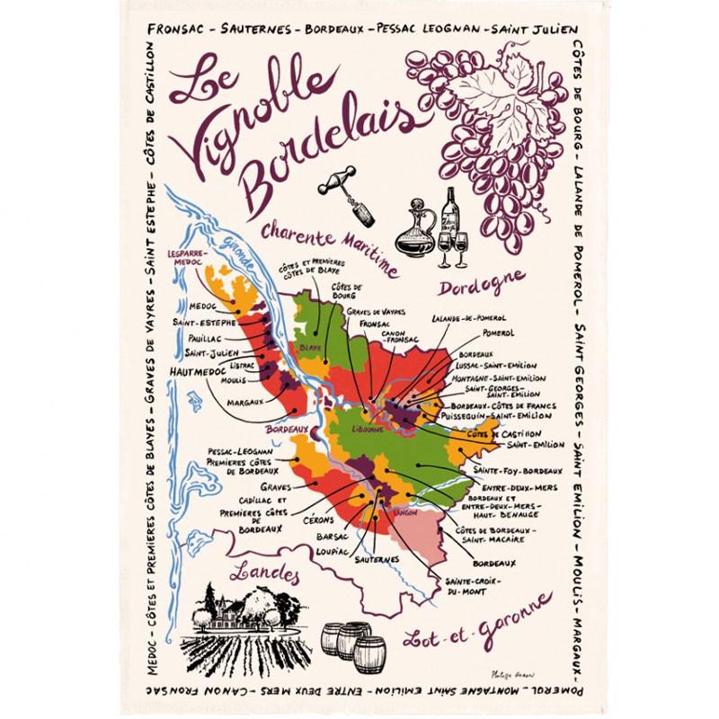 French Image Dish Towel - Le Vignoble Bordelais - Torchons et Bouchons