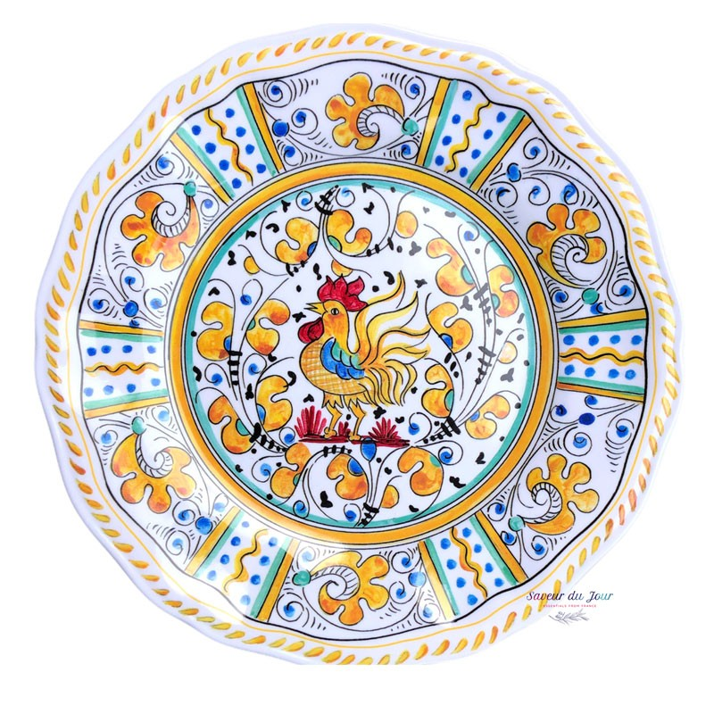 Melamine Rooster Yellow Salad Plate - Le Cadeaux