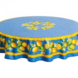 Provence Coated Tablecloth - Lemon Blue - Tissus Toselli