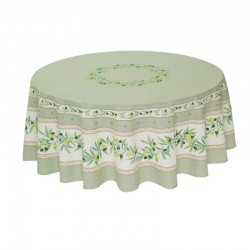 Provence Coated Tablecloth - Ramatuelle Green - Tissus Toselli