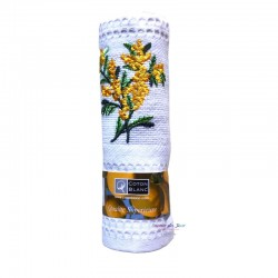 Provence Embroidered Mimosa Waffle Weave Towels - Coton Blanc