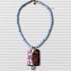 ANGE BLEU- Ceramic Pendant & Angelite Necklace