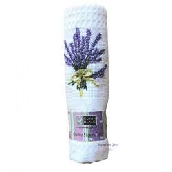 Provence Embroidered Lavender Bouquet Waffle Weave Towel - Coton Blanc