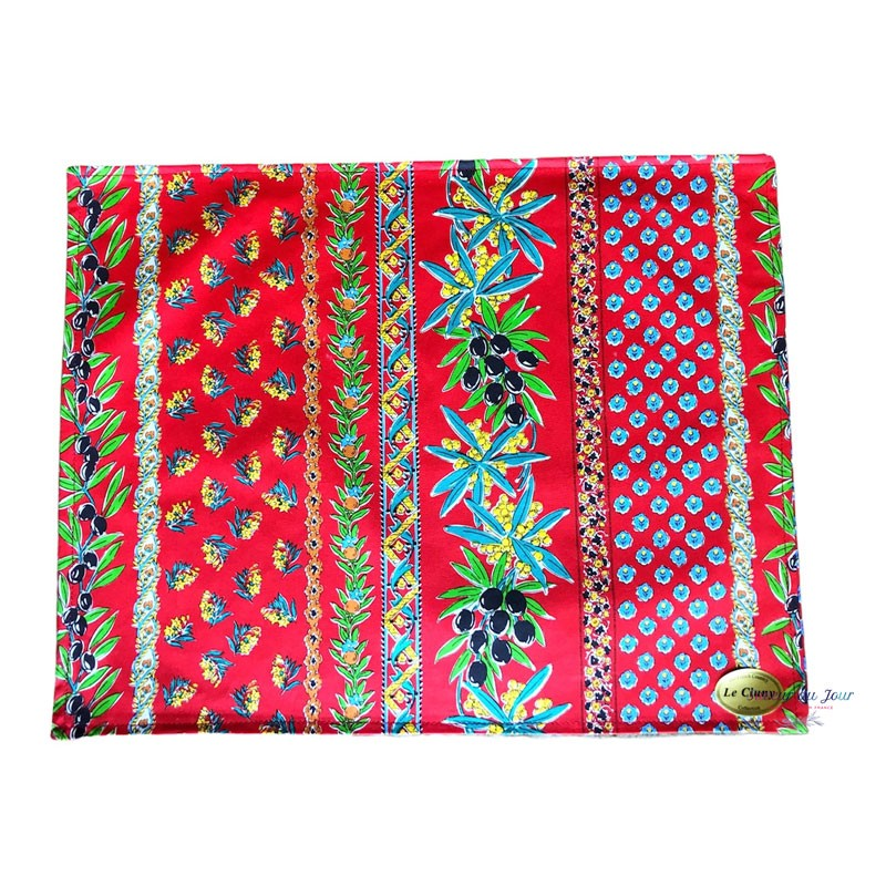 Provence Coated Placemat - Olive Mimosa Red