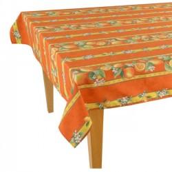Provence Coated Rectangular Tablecloth - Lemon Orange - Tissus Toselli