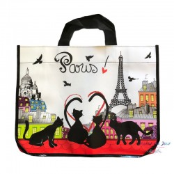French Tote Bag - Paris Cats on a Roof
