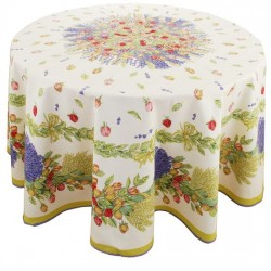Provence Cotton Tablecloth - Roses Lavender Round
