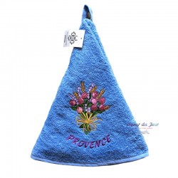 Round Terry Hand Towel - Roses & Lavender Bunch Blue