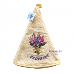 Round Terry Hand Towel - Roses & Lavender Bunch Yellow