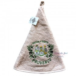Round Terry Hand Towel - Olive Oil Beige