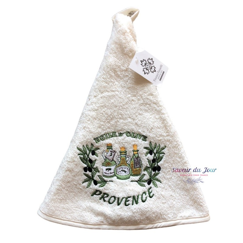 Round Terry Hand Towel - Olive Oil Cream