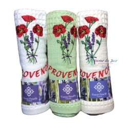 Provence Embroidered Waffle Weave Towel - Poppies
