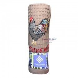 Provence Embroidered Waffle Weave Towel - Rooster - Tissus Toselli