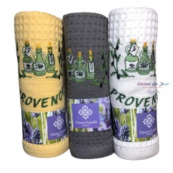 Provence Embroidered Waffle Weave Towel - Olive Oil - Tissus Toselli