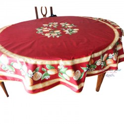 Provence Coated Round Tablecloth - Lemon Red - Tissus Toselli
