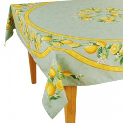 Provence Coated Rectangular Tablecloth - Lemon Green - Tissus Toselli