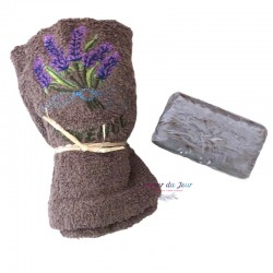 Provence Lavender Soap & Embroidered Terry Towel Gift Set
