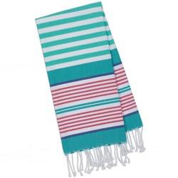 Towel Fouta - Small Aqua & Pink Stripes