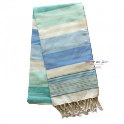 Fouta Towel - Large - Blue & Aqua Stripes