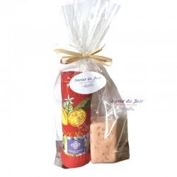 Provence Pomegranate Soap & Lemon Embroidered Waffle Towel Gift Set