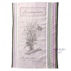 French Jacquard Dish Towel - La Ciboulette - Tissus Toselli