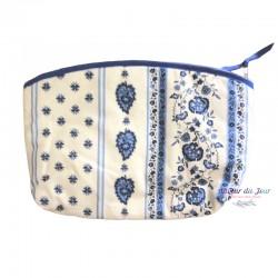 Provence Pouch - Palmette White & Blue - Large