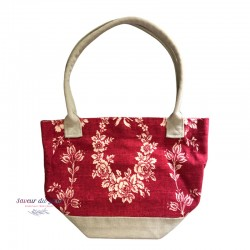Toile de Jouy Handbag - Floral Quail - Red & Beige