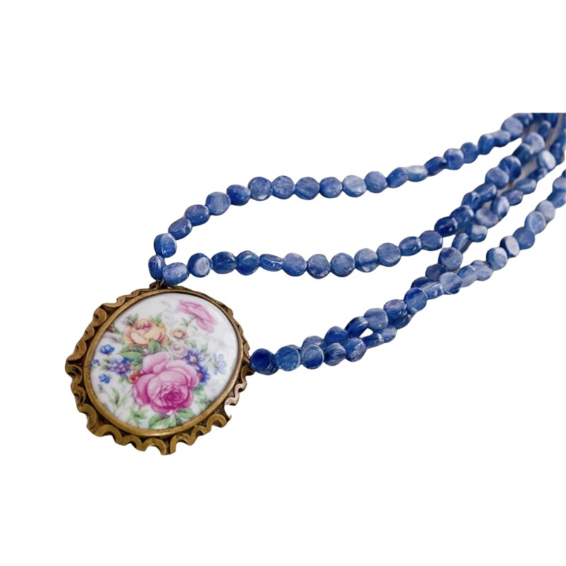 Limoges Pendant & Blue Kyanite Necklace
