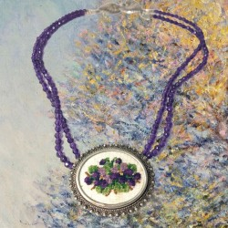 Violettes - French Vintage Needlepoint Pendant & Amethyst Necklace