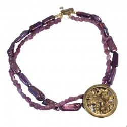 Fleur de Rubis - Antique French Brooch, Pearls & Rough Rubies Necklace