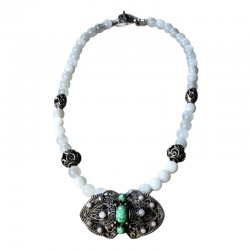Lune Verte - Vintage French Brooch & Moonstone Necklace