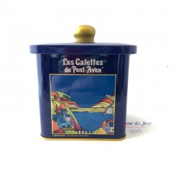 Thin Brittany Butter Cookies in Blue Tin Cookie Jar  - Traou Mad