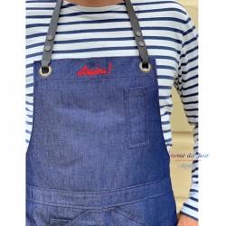 """Denim Blue Apron - Embroidered  """"L'Apero"""""""